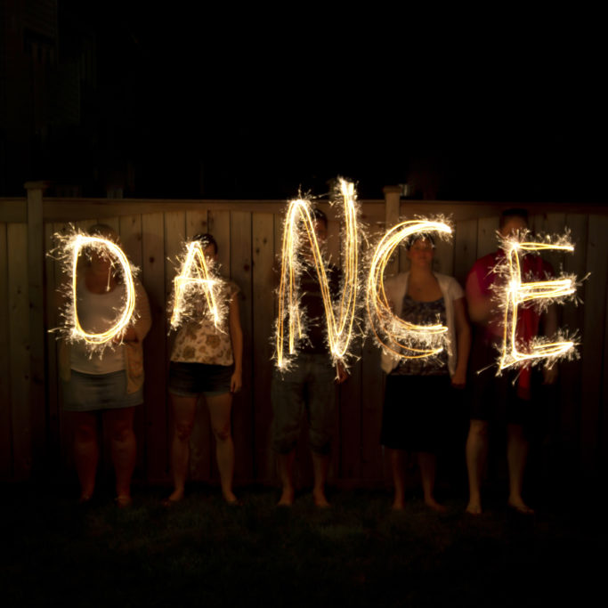 The word Dance in sparklers time lapse photography